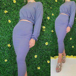 MARGA  blue rib crop top and midaxi skirt